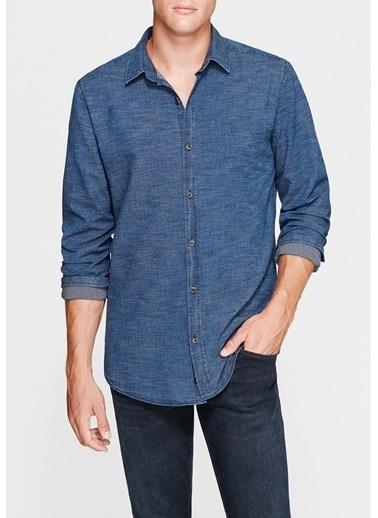 Mavi Baskılı Gömlek İndigo
